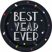 "Neon Dots New Years Eve 7"" Dessert Plates (8)"